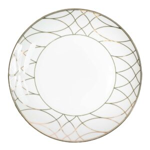 Gold and White Dinner Plate