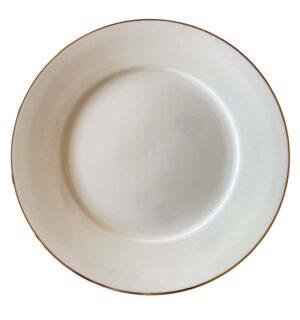 White Gold Rimmed Dinner Plate